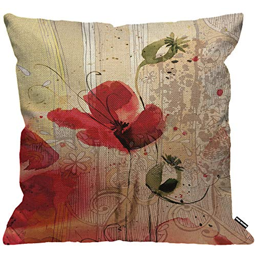 HGOD DESIGNS Cushion Cover Flower Red Poppy Flower Beige Floral Throw Pillow Cover Home Decorative for Men/Women/Boys/Girls Living Room Bedroom Sofa Chair 18X18 Inch Pillowcase