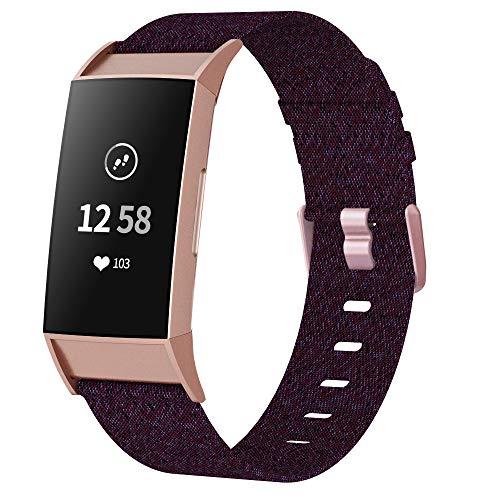 XIMU Armband Kompatibel mit Fitbit Charge 4 Armband/Charge 3 Armband / 3 SE Armband, gewebter weicher atmungsaktiver Stoff Ersatzarmbänder Gurt Sportzubehör für Frauen, Männer