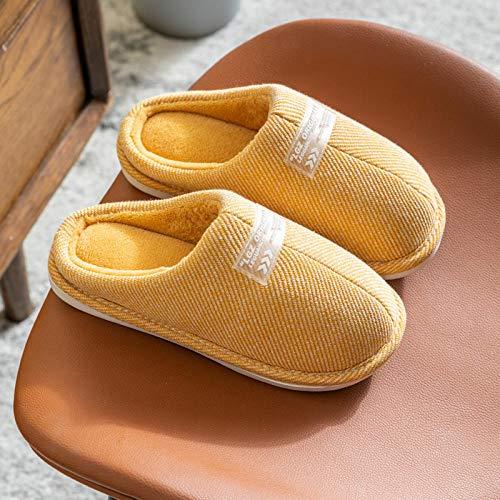 Zapatillas de Casa para Hombre Invierno Caliente ,Zapatillas de invierno para mujer, cálidas para interior, zapatos de algodón para el hogar, antideslizante de felpa para hombre, amarillo, EU 35-36