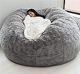 jidan Durable Comfortable Bean Bag Chair Dropshiping Fur Soft Bean Bag Sofa Cover,living Room Furniture Party Leisure Giant Big Round Soft Fluffy Faux Cushion Bed (Color : Gray)