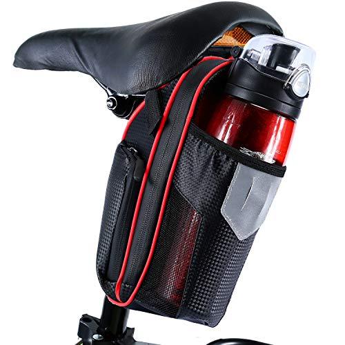 Selighting Bolsa de Sillin Bicicleta, Bolsa Bicicleta Montaña Alforja Bolsa Trasera Bicicleta Impermeable con Compartimento Botella (Rojo)
