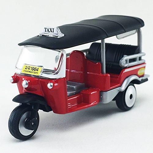 Majorette 2017 Tuk Tuk Thai Open Air Taxi Red Color 1:60 Diecast Model Toy Car Collectible Souvenirs Gift Miniature Decorative Bangkok Thailand