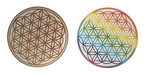 100 Stück Blume des Lebens Aufkleber, 2 verschiedene Varianten, Goldprägung und Regenbogenfarbe, Energiesymbol, 2 x 50 Stück in praktischer Spenderbox