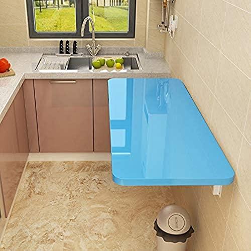 Mesa de Cocina de Hoja de Gota montada en la Pared Mesa de Comedor de Cocina Plegable Blanca, Ahorro de Espacio con Estilo, 20 tamaños (Color : Blue, Size : 60 * 30cm/23.62 * 11.81in)