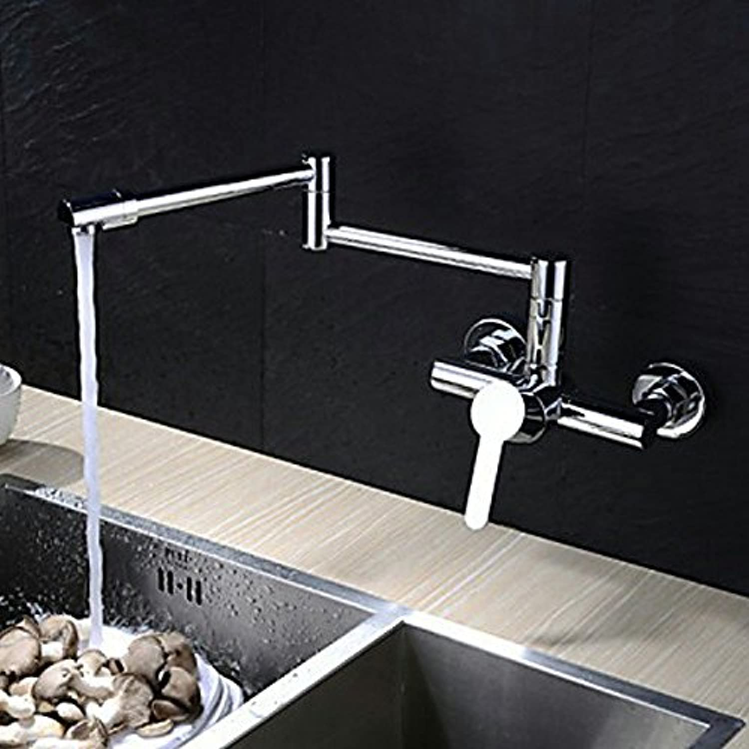 Commercial Single Lever Pull Down Kitchen Sink Faucet Brass Constructed Polished Sink Faucet Kitchen Copper Hot and Cold Water Basin Faucet Faucet European Chrome Mixed Mixer