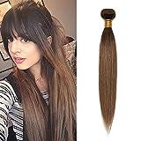 Silk-co Hair Bundle Extensiones de Cabello Natural Brasileña [50cm #4T30 Marrón Medio ombre Auburn CLaro] Liso 100g/Bundle Pelo Humano Virgin Hair