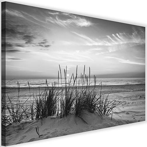 Bilder Strand 120x80 cm - Leinwandbild 1 Teilig XXL Kunstdruck Gras Himmel grau