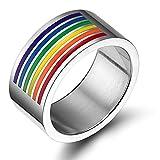 VNOX Joyería Gay & Lesbiana Anillo de Esmalte de Arco Iris de Acero Inoxidable Pride,Ancho de 10 mm