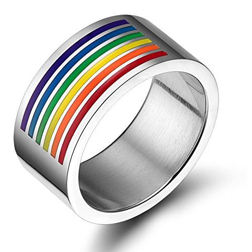 VNOX Schmuck Homosexuell & Lesbisch Stolz Edelstahl Regenbogen Emaille Ringe,10mm breit