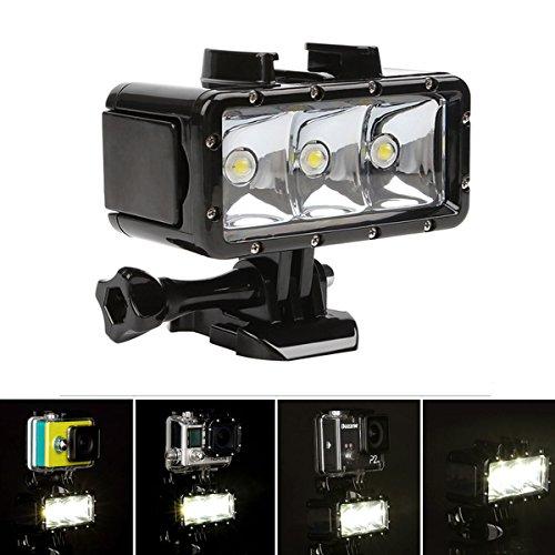 Duik videoflits, waterdicht, hoge prestaties, 300 lm, LED, 40 m, 1200 mAh, oplaadbare batterij, voor GoPro Hero 4 3 2 3+ SJCAM SJ4000/SJ5000/Xiaomi Yi en andere soortgelijke actiecamera's
