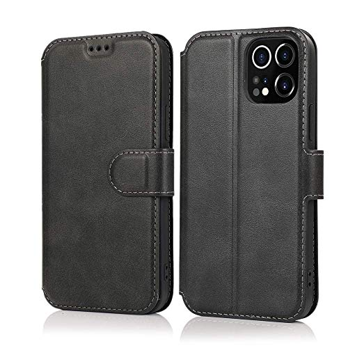 LEWOTE Case for iPhone 12 Pro[6.1inch], PU Leather Flip Wallet Phone Case Compatible with Apple iPhone 12 Pro[Card Holder Stand Protective Cover][Support Wireless Charging] (Black)