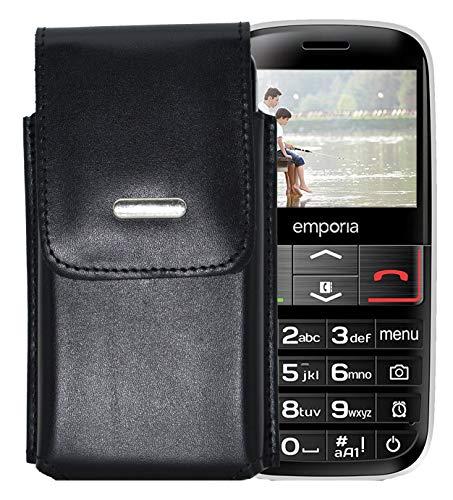 Favory-Shop Vertikal Etui für Emporia Euphoria V50 Köcher Tasche Hülle Ledertasche Vertical Case Handytasche mit Einer Gürtelschlaufe auf der Rückseite