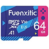 64GB Micro SD Card, Fuenxitic MicroSDXC UHS-I Flash Memory Card with Adapter, A1 C10 U3 100MB/s SD Card for Storage Phone/Cemera/Galaxy/Drone/Tablet/Dash Cam/Nintendo Switch & Switch Lite