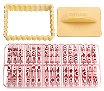 Zenker Cortador de Galletas Rectangular con Marcador de Letras, numeros y Corazones, en Gris y Rosa, 5cm, 3 pzas, Multicolor, 10x7,5x2cm