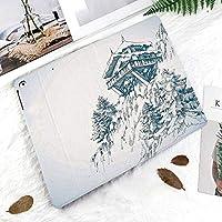 新しい iPad Pro 11 ケース (2018モデル)スタンド機能 iPad Pro 11 インチ (2018新型) 保護カバー 軽量 薄型 シンプル 2つ折タイプ 全面保護型 傷つけ防止 iPad pro 11手帳型 (iPad pro 11 (2018))雪に覆われた冬の風景画と山小屋の木造寺院の松の木の森アートプリント