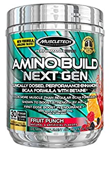 BCAA Amino Acids + Electrolyte Powder | MuscleTech Amino Build | 7g of BCAAs + Electrolytes | Support Muscle Recovery Build Lean Muscle & Boost Endurance | Fruit Punch  30 Servings