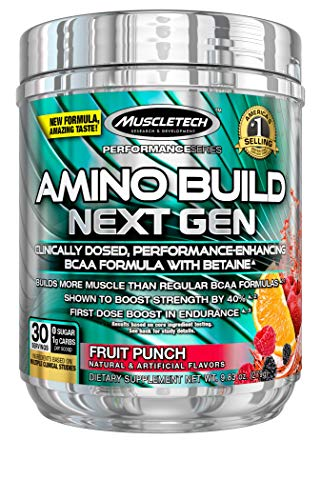 BCAA Amino Acids + Electrolyte Powder | MuscleTech Amino Build | 7g of BCAAs + Electrolytes | Support Muscle Recovery, Build Lean Muscle & Boost Endurance | Fruit Punch (30 Servings)
