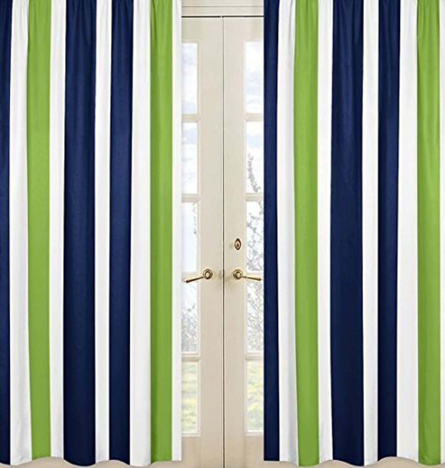Sweet Jojo Designs 2-Piece Navy bluee, Lime Green and White Window Treatment Panels for Stripe Collection