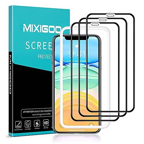 mixigoo 3 Stück Full Screen Schutzfolie für iPhone 11/iPhone XR, 9H Härte Panzerglasfolie mit Positionierhilfe Anti-Bläschen Anti-Kratzen Displayschutzfolie für iPhone 11/XR Folie, 6.1