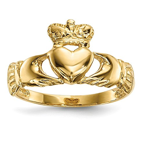 14k Yellow Gold Irish Claddagh Celtic Knot Band Ring Size 7.00 Fine Jewelry For Women Gifts For Her