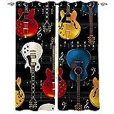 Cortinas opacas de música para dormitorio de niños, guitarras eléctricas de colores con cuerda de oscurecimiento térmico con ojales para decoración de habitación de niños y niñas, 42 x 54 cm