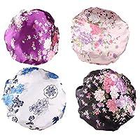 Beaupretty 4本の女性の絹のようなサテンの睡眠の帽子プレミアムゴムバンド付きサテンの睡眠の帽子女性の女の子のためのナイトキャップサロンボンネット抜け毛の帽子(紫色+黒+白+ピンク)