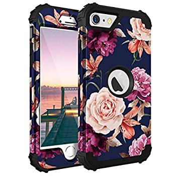 iPhone SE 2020 Case Casewind iPhone SE 2020 Case Floral 3 in 1 Heavy Duty Protection Hard PC Soft Silicone Rugged Bumper Anti-Scratch Shockproof Hybrid Protective Case for iPhone SE 2020,Navy Blue