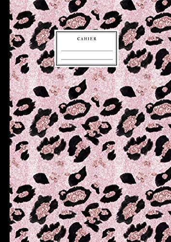 Cahier: Motif Léopard rose - Beau Cahier A4 21x29.7 Grand Carreaux Lignage Seyès - Jungle - Beau cahier pour enfants et adultes