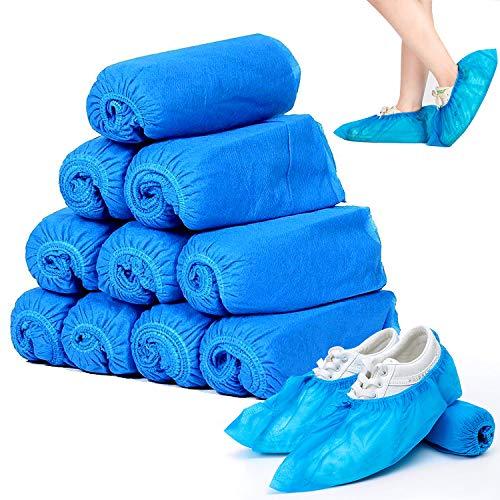 Copriscarpe Monouso,Copri Scarpe da Casa Usa e Getta,100 Pezzi Copriscarpe Tessuto Non Tessuto,Antiscivolo e Durevole per Lavoro, Interni Auto Moquette (blu)