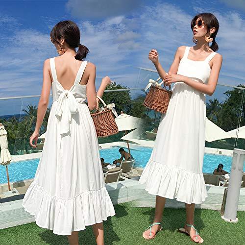 Summer Women White Cotton Backless Straps Dress Midi Elegante Casual Vacation Beach...