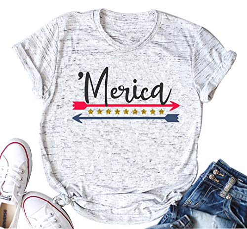 America USA Flag Shirts Women Merica Arrow Stars and Stripes Vintage Style tee top Blouse Casual(X-Large, White)