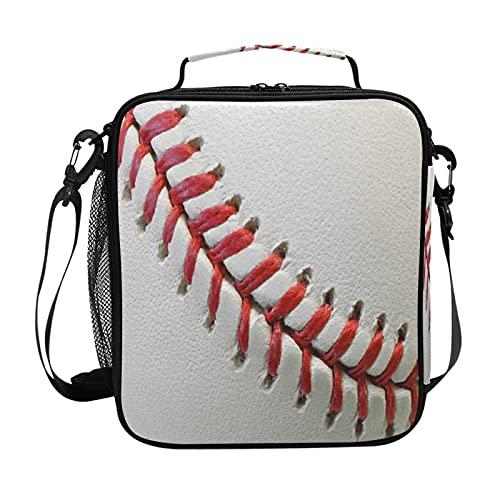 HaJie - Bolsa de almuerzo con estampado de encaje de béisbol con soporte para botellas para mujeres, niños, niñas, hombres, bolsa de trabajo térmica para el almuerzo