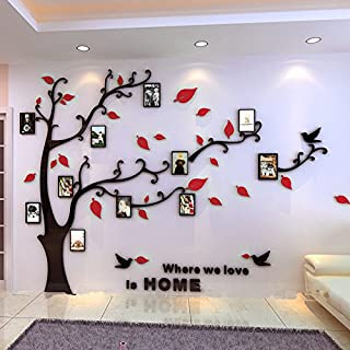 Beddinginn Tree Wall Sticker with Famliy Picture Frames DIY Branches Photo Gallery Frame Decor for Office and Home 118×72 Inches (Red Leaves,Left)