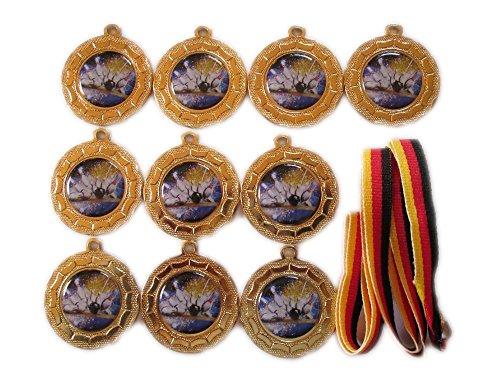10 Bowling-Medaillen mit farbigen Emblemen, Deutschland Bänder und 3 Bowling-Stickern