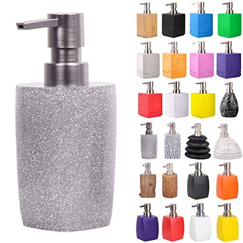 Seifenspender | viele schöne Seifenspender zur Auswahl | modernes, stylisches Design | Blickfang für jedes Badezimmer (Glitzer Silver)