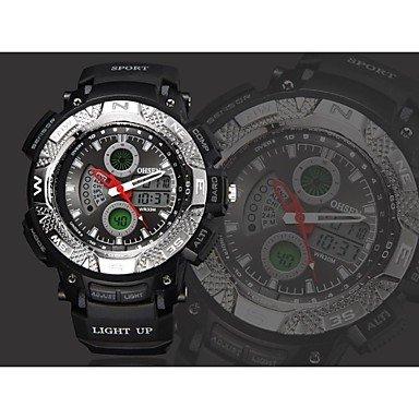 FENKOO Herren Sportuhr Quartz LED/Kalender/Chronograph/Wasserdicht Silikon Band Schwarz Marke- OHSEN