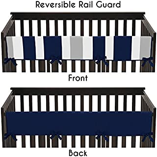 Baby Crib Long Rail Guard Cover for Navy and Gray Stripe Print Bedding Collection