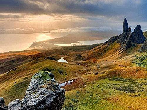 AMTTGOYY Pussel för vuxna 1000 bitar konst dekoration liggande affisch Skottland Isle of Skye Diy kreativt pussel