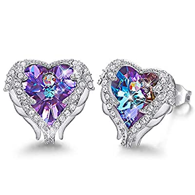 Caperci Angel Wings Heart Swarovski Crystal Stud Earrings for Women, Jewelry Gifts for Valentine's Day