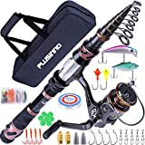 PLUSINNO Fishing Rod and Reel Combos, Toray 24-Ton Carbon Matrix Telescopic Fishing Rod Pole, 12 +1 Shielded Bearings Stainless Steel BB Spinning Reel (Full Kit with Carrier Bag, 1.8M 5.91FT)