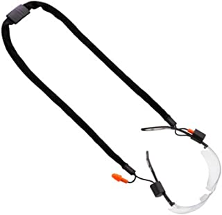 Safety Eyeglasses Earplug Combo Neck Cord String Retainer Strap and Sport Leisure Sunglasses Holder (Black)