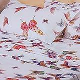 Mirabello Bettwäsche für französisches Bett aus feinem Perkal aus Baumwolle, Effekt Tagesdecke mit Doppel-Rüschen, Art. Butterfly