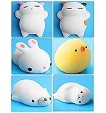 6Mini Kawaii Weich Cat Chicken Dichtung dehnbar Squishy Spielzeug Squeeze Spielzeug Stress Wärmekissen
