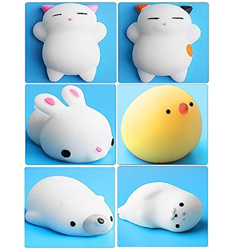 6Pcs Mini Kawaii suave Cat pollo cierre elástico Squishy juguete con caja mochi Squeeze Toy Stress Reliever