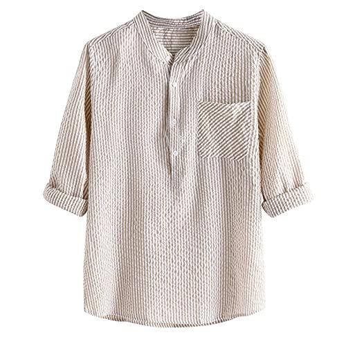 Soolike Camisa de Verano para Hombre Camiseta de Algodón y Lino para Hombre, Camisa de Lino de Algodón de Teñido de Cuello Alto Transpirable Fino Fresco de Verano para Hombre de Manga Corta/La