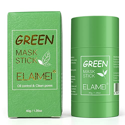 Green Tea Mask Stick for Face, Blackhead Remover Green Tea Purifying Clay Stick Mask, Mascarilla facial de limpieza profunda con control de aceite, control de aceite anti-acné y poros limpios para