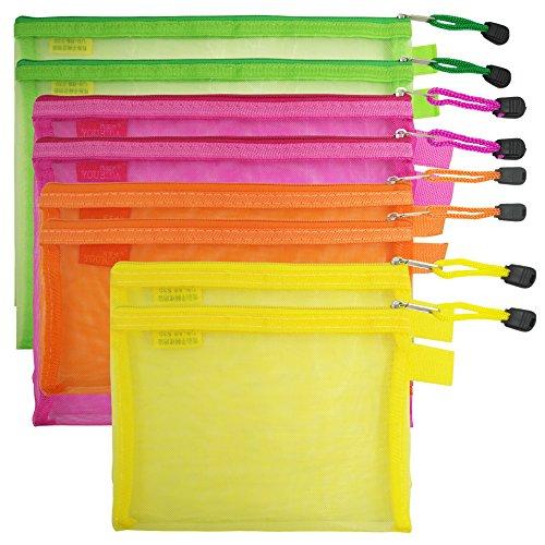 8 bolsas de archivos de malla con cremallera, con bolsillo para documentos con billete B5, A5, A6, tamaño AFUNTA 4 colores, tamaño 4, nailon, estuche de almacenamiento para cosméticos de oficina