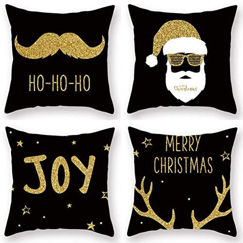 QTMHT Kussen Kussensloop Kerstman Cartoon Gouden Baard Sneeuwvlok Kussensloop Decoratief Zwart 45 x 45 cm Set van 4 stuks