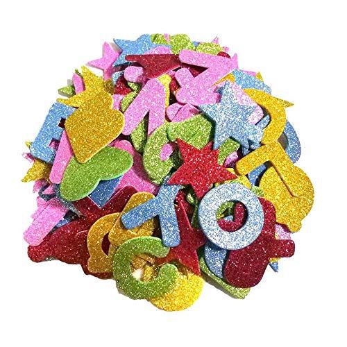 jenich 344 Stück Glitzer Schaumstoff Aufkleber Sticker Buchstaben Selbstklebend Stern Herzen Alphabet Bunt Aufkleber Sticker Eva Moosgummi Buchstaben zum kleben für Schultüte DIY Handwerk