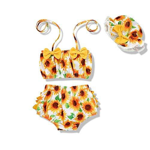Tiny Cutey Infant Baby Girl Bikini Swimsuit Sunflower 2 Piece Bathing Suit Halter Top Bikini Bottoms Swimming Suit (White-Sunflower, 3-6M)